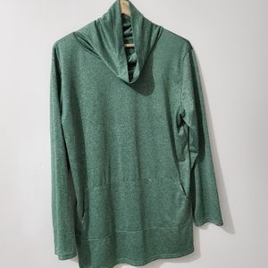Women's Pullover Cowl Neck Green Size XL